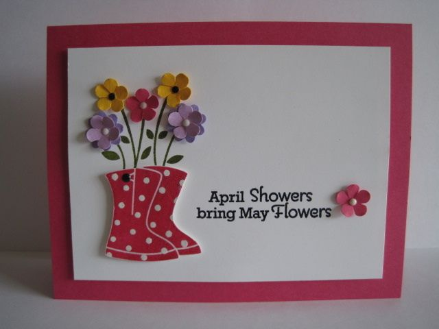 Cute for Spring: Cards Misc, Cards Ideas, Art Cards, April Shower, Cards Inspiration, Cards Scrap, Boots Sho Cards, Cards Su, Awesome Cards