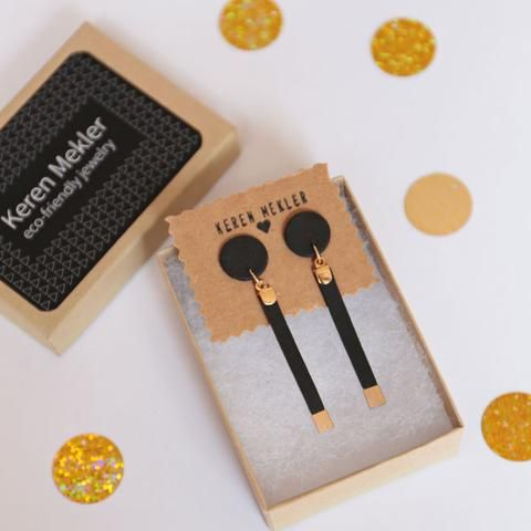 """Long Drop """"Eco Leather"""" Earrings - black and gold #KerenMekler"""