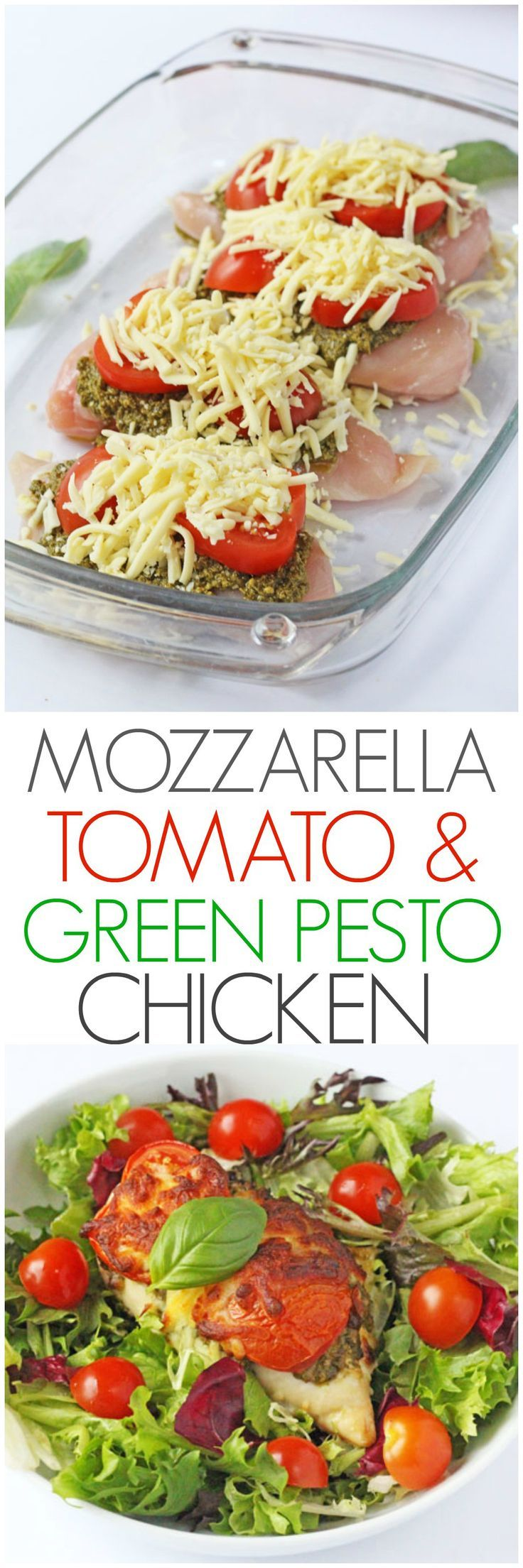 A delicious and easy mid week meal. Just 3 minutes prep and 30 minutes in the oven to make this Mozzarella, Tomato & Basil Pesto Chicken - can stuff chicken instead of on top