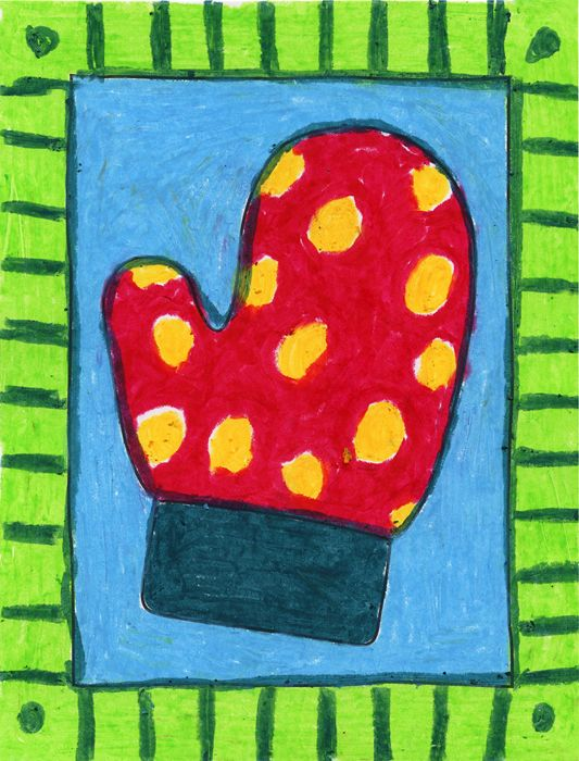 Oil Pastel Glove. Challenge your students to layer lots pastel colors on a simple glove drawing. #artprojectsforkids