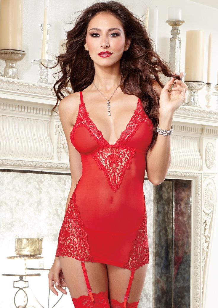 Dreamgirl Stretch Mesh Garter Slip D9670 £40.99  Large venice embroidered appliques and stretch mesh with spandex garter slip with tall triangle cups, adjustable shoulder straps and removable/adjustable garter straps. #dreamgirl #sexylingerie