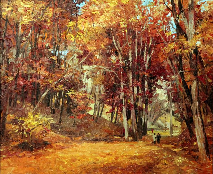 "Saatchi Art Artist: Viktor Zhmak; Oil 2013 Painting ""Autumn in the Park"""