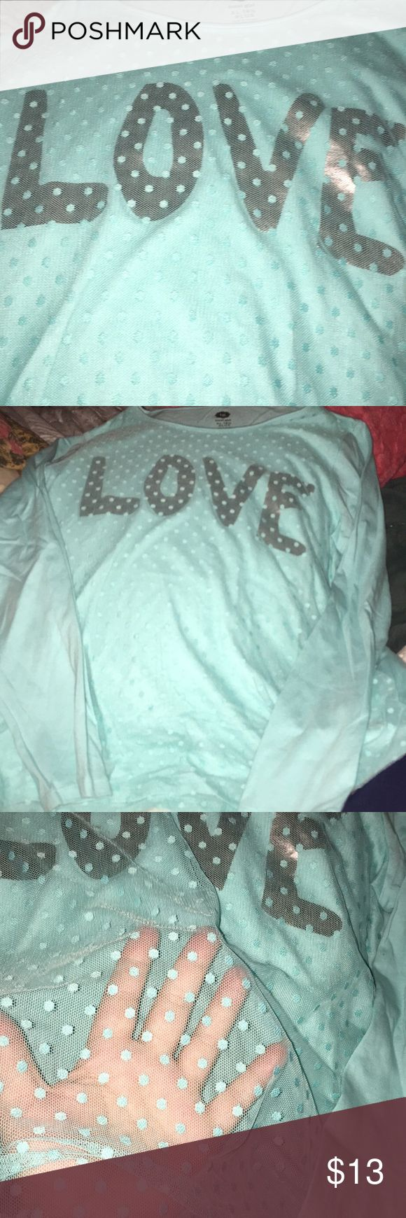 """Total Girl BRAND NEW """"LOVE"""" ♥️ shirt. Size XL Girls ADORABLE NEVER WORN SHIRT.  A LIGHT TEAL color with the letters LOVE in silver. Had a mesh front with Dots !!!   So Pretty.  NWOT. SIZE XL 18 1/2 Plus 😀 Total Girl Shirts & Tops Tees - Long Sleeve"""