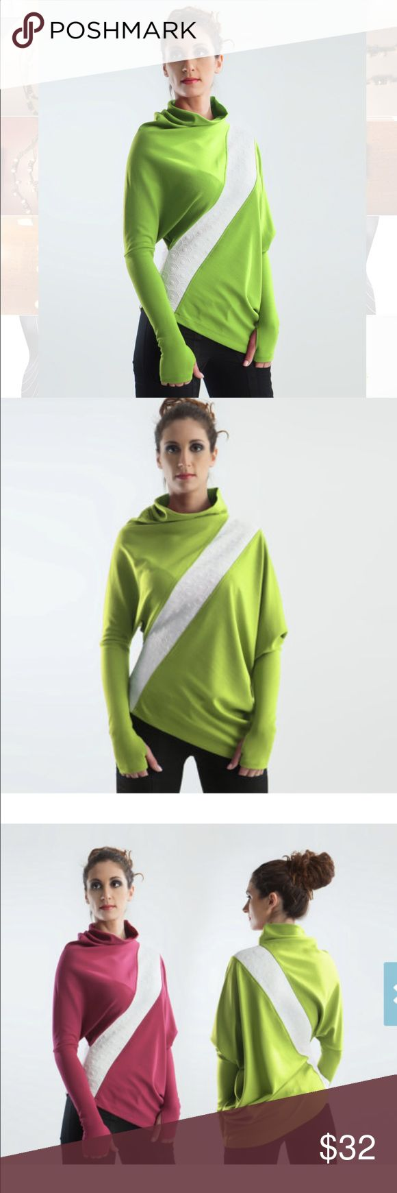 Batwing oversize asymmetric pullover sweater Handmade lime-green batwing oversize pullover w/ textured white stripe & thumb holes in sleeves. Asymmetric design that's both retro & modern, somehow? Got this straight from the Latvia-based designer on Etsy (bought both pink & lime colors; kept pink). Stretchy, dense jersey fabric w/ modern texture; thumb holes keep hands warm & prevent sleeves from riding up; quality, dense rayon jersey - does NOT pill; labels sewn on separately so they can be…