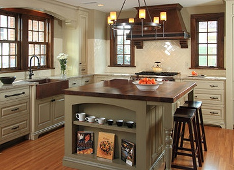 This 1920s Tudor style kitchen reflect European character and charm. ***Pfister Products in This Room:  Hanover Pull-Down Kitchen Faucet