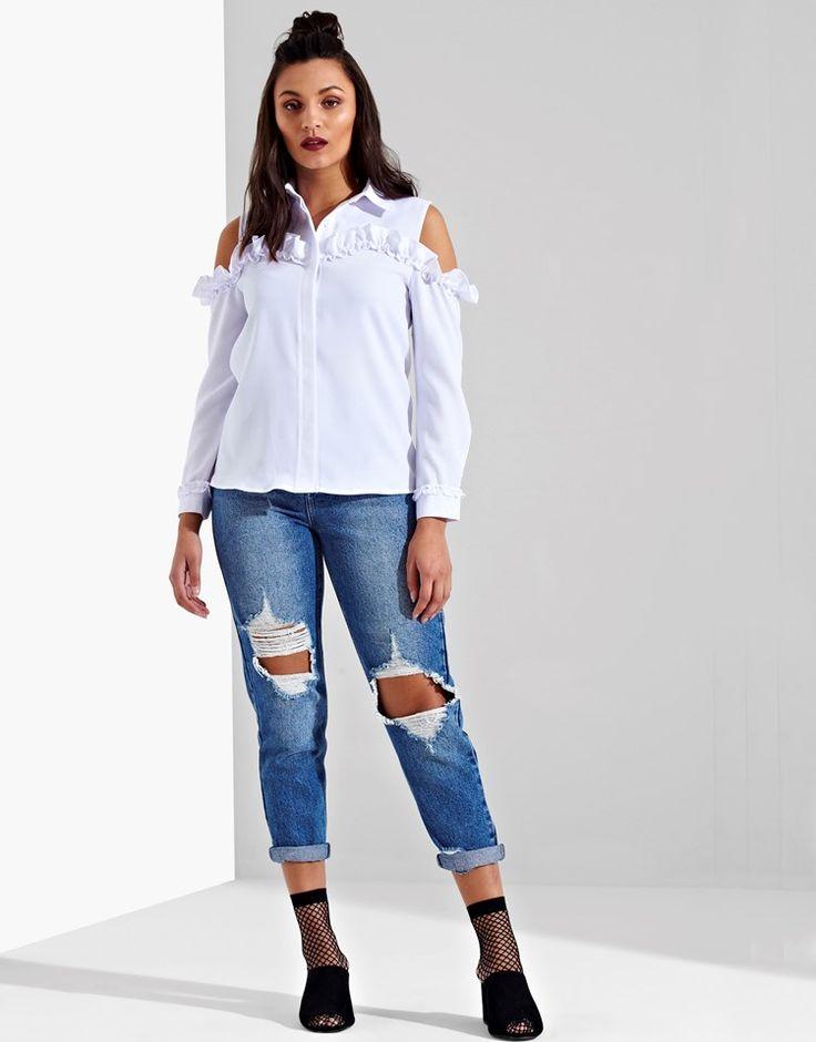 Ruffle Cold Shoulder Shirt