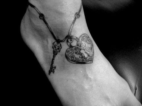 hearts with locks and keys drawings | lock and key tattoo | Tumblr                      - I love this tat!
