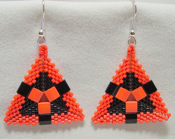 Black and Orange Peyote Stitched Tila and Seed Bead Triangle Earrings. $15.00, via Etsy.