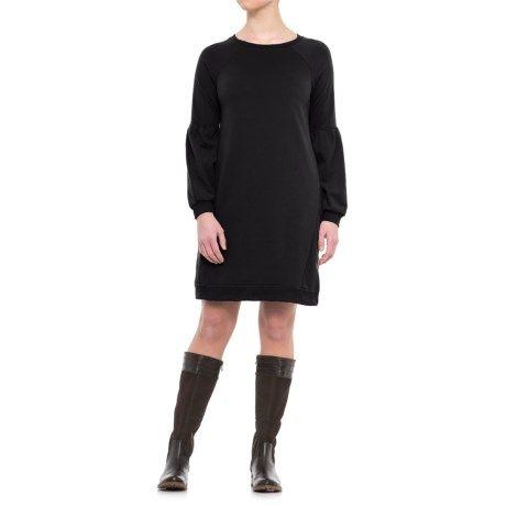 Cg Cable Gauge Bell Sleeve Sweatshirt Dress Long Sleeve For