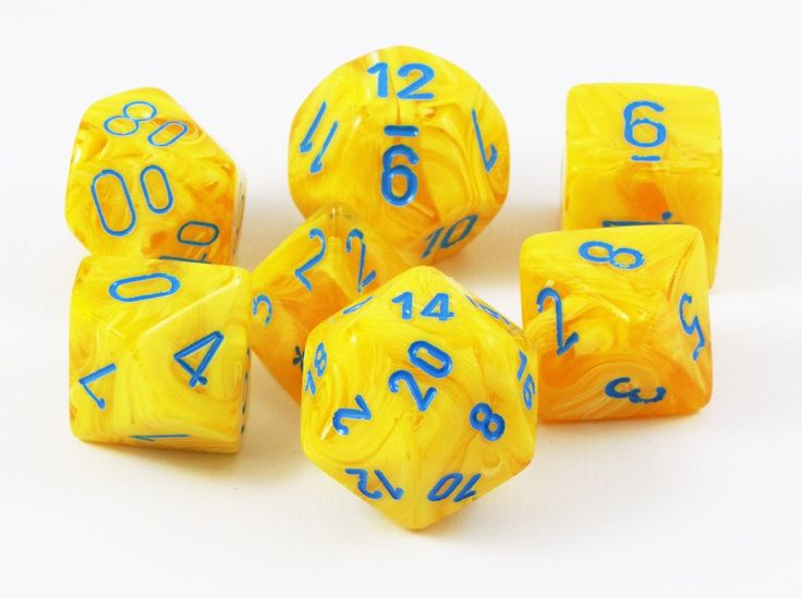 Vortex Dice (Yellow With Blue) RPG Role Playing Game Dice – Dark Elf Dice
