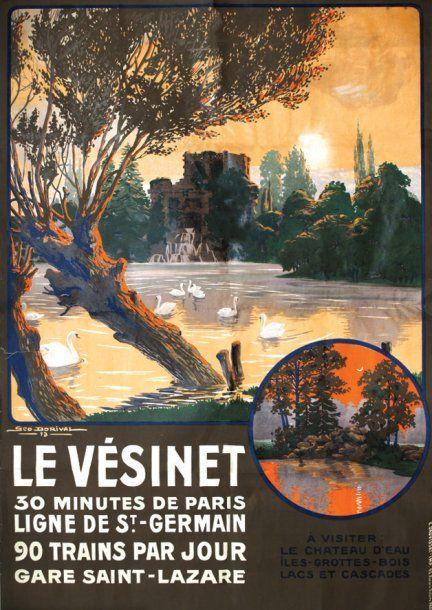 Vintage Railway Travel Poster - Le Vésinet - France - by Geo Dorival - 1913.