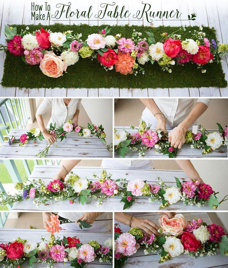 How To Make A Floral Table Runner Wedding Decor Flower Garlands