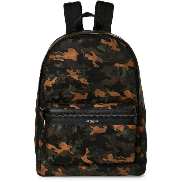 Michael Kors Kent Camo Backpack ($100) ❤ liked on Polyvore featuring bags, backpacks, green, michael kors bags, michael kors, camo backpacks, green backpack and camouflage bag