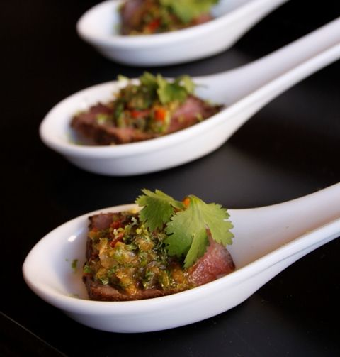 Appetiser - Ostrich Steak with 4 Herb Chimichurri Sauce