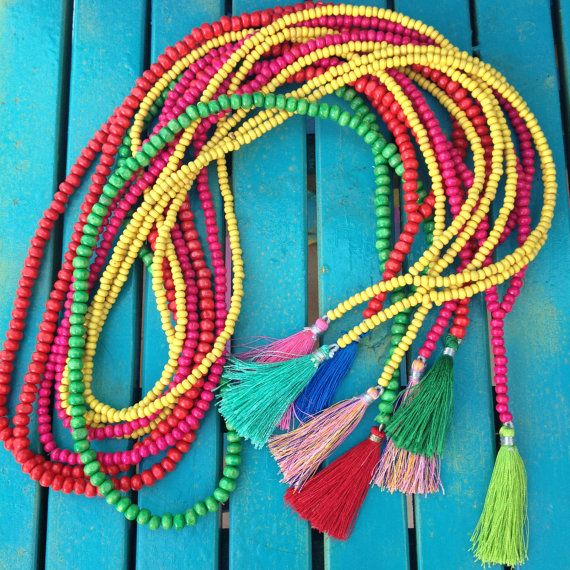 Mala Necklace Boho Tassel Yellow Beads por VivalaVirgen en Etsy