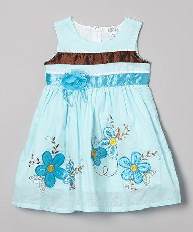 Another great find on #zulily! Aqua Butterfly Flower Dress - Toddler & Girls by Littoe Potatoes #zulilyfinds