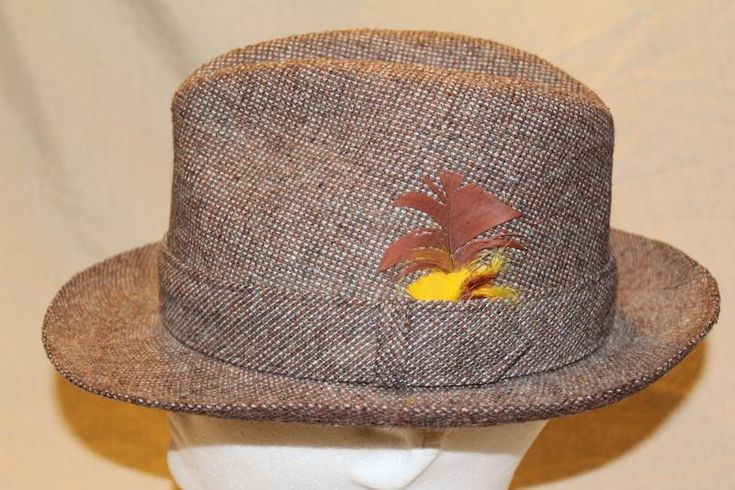 Vintage Stetson Tweed Men's Dress Hat Fedora 7 Feather Hatband Men's Hat Classic Style by AtticEsoterica on Etsy