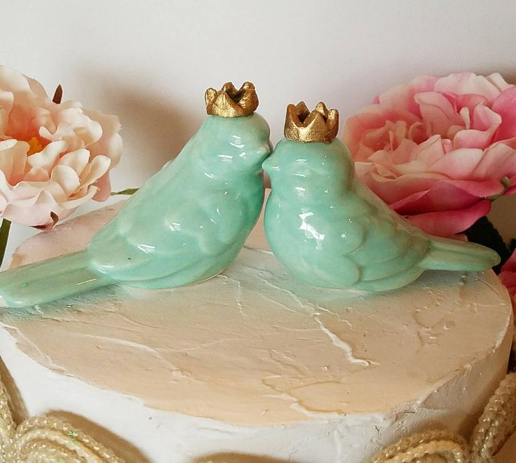Aqua Hint of Mint Green Love Birds With Crowns Wedding Cake Topper Aqua Wedding Ceramic .. https://www.etsy.com/listing/508926760/aqua-hint-of-mint-green-love-birds-with