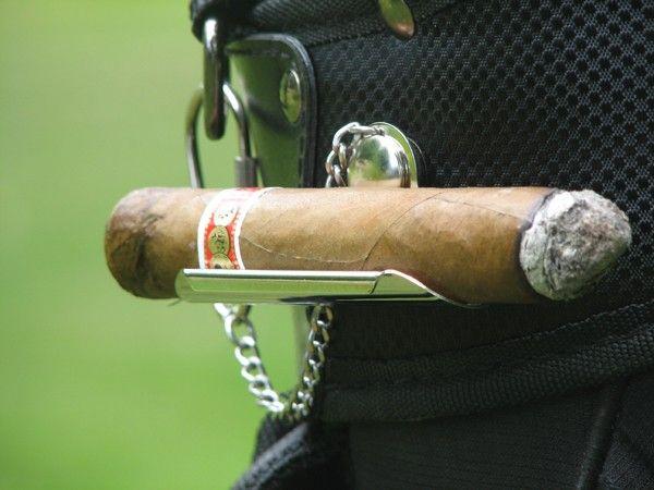 Engravable golf cigar holder.