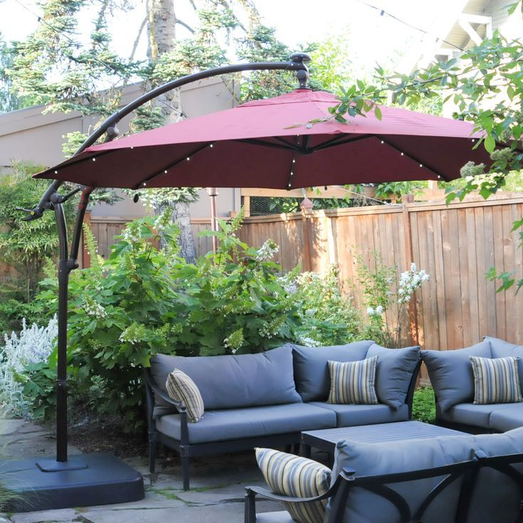 Hampton Bay 11 Ft Led Offset Solar Umbrella Review In 2020 Solar Umbrella Large Patio Umbrellas Outdoor Covered Patio
