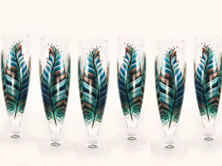 Southwest Feathers Craft Beer Glasses - 6 Hand-Painted Feathers in Turquoise, Sedona Brown, Silver - Glassware for Men Buys Beer Glasses by 32ndStStudio on Etsy