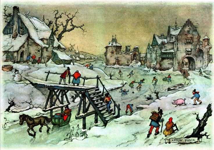 Winter Scene - Anton Pieck, Dutch painter, artist and graphic artist.