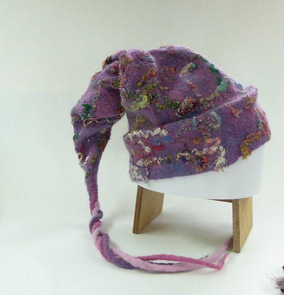 Merinowollen muts lila paars handgevilt van door NaaiatelierAnci