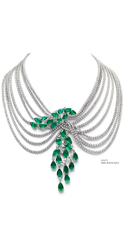 Farah Khan Zambian Emerald Multi-Layered Necklace.