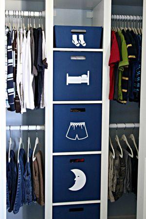 Organized Kids Closet.  Like the drawer symbols.