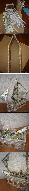 Денежный кораблик из трубочек для коктейля и шпагата | Сама Я mk.ru