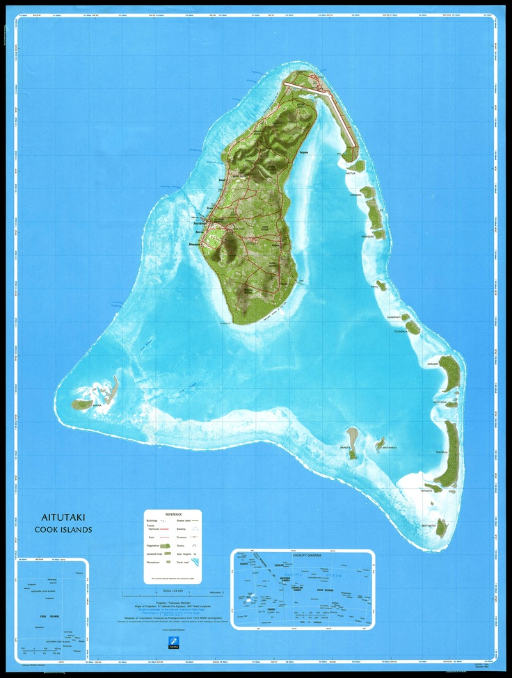 Map Of The Aitutaki Atoll Cook Islands South Pacific