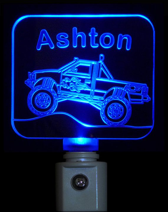 Kids Personalized Chevy Monster Truck Night Light , LED Custom Light on Etsy, $19.00