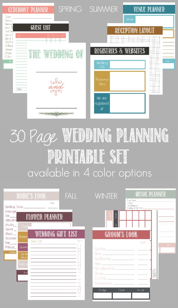30 Page Wedding Planning Printable Set (available in 4 color options) | Bread Bo…