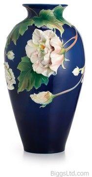 FRANZ PORCELAIN COLLECTION Cotton Rose Flower Large Vase FZ02484 transitional-vases