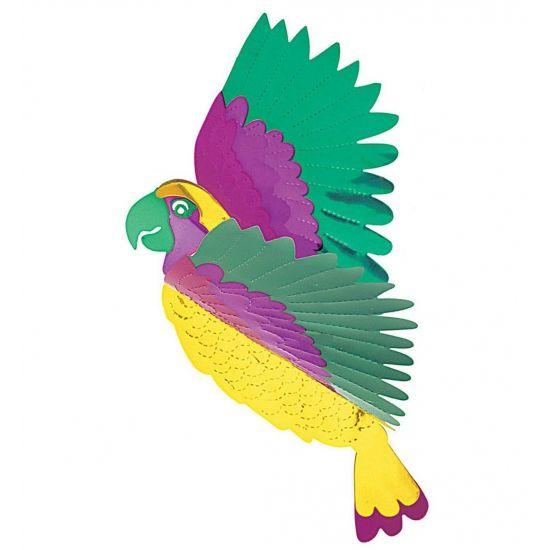 Mooie gekleurde tropische papegaai, gemaakt van pvc. Leuk als decoratie om ergens op te hangen of neer te zetten. De tropische papegaai is 36 x 28 cm. Ook leuk als versiering bij een zomers feestje.
