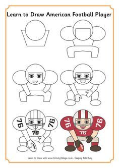 Learn to draw an American football player