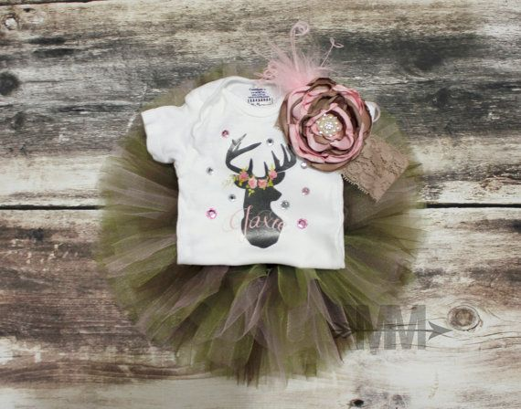 Girl camo tutu outfit with matching flower by MiaMonroeBoutique, $17.00