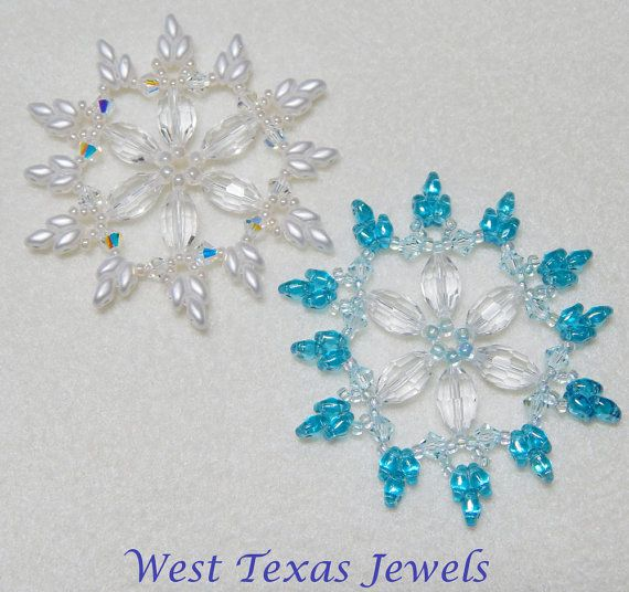 Snowflake 7 Beaded Ornament Pattern by Westtexasjewels on Etsy