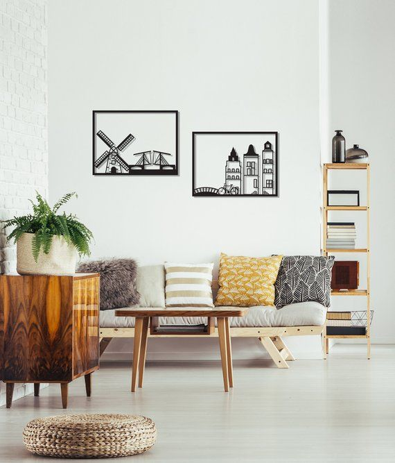 wall art sets for living room mattress india set of 2 amsterdam minimalist framed metal urban
