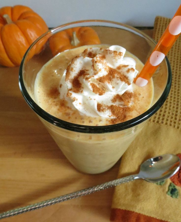 Pumpkin Smoothie: 1/3 cup pumpkin,  1/2 frozen banana, 1/4 cup almond/coconut milk, 1/2 cup plain greek yogurt, 3/4 tsp. vanilla extract, 1 tsp. maple syrup,  3/4 tsp. pumpkin pie spice,  4 ice cubes (if needed) - I don't like putting ice in smoothies!