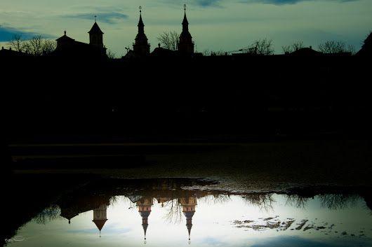 Spiegelbild in einer Pfütze Kath. und Ev. Kirche Ludwigsburg (Marktplatz) #ludwigsburg