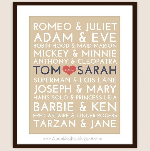 famous couples plus one - fun wedding gift