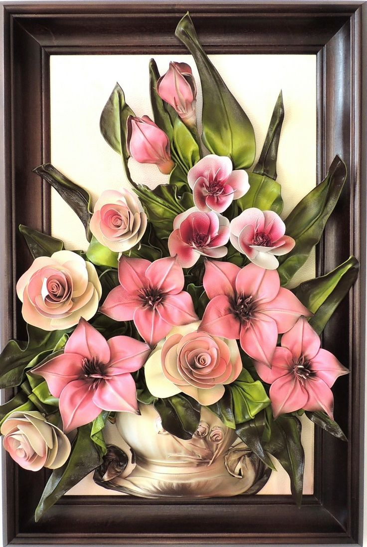 Cream, Violet Hand Crafted  Leather Flowers in Gray Vase…  WWW.MAKMARKETPLACE.COM Leather Flowers  Size: (73cm x 49cm) Material: Genuine Leather Colors: Cream,Yellow,Green, Grey,Gold,Violet Frame: Solid Wood, Stained   https://plus.google.com/communities/107298104499962573861  https://www.facebook.com/pages/MAK-Marketplace/331889076912354  http://www.pinterest.com/MAKMarketplace/