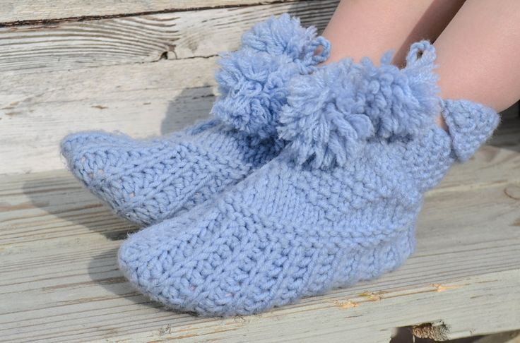 """Woolen socks hand knitted """"Boats"""" - Children's slippers by warmheels on Etsy"""
