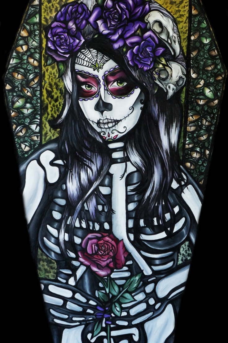 """Day of the Dead Art Coffin """" Flower of the Dead"""" 12 by 24 Giclee Canvas Print  Skeleton Sugar skulls Tattoo art. $99.00, via Etsy."""