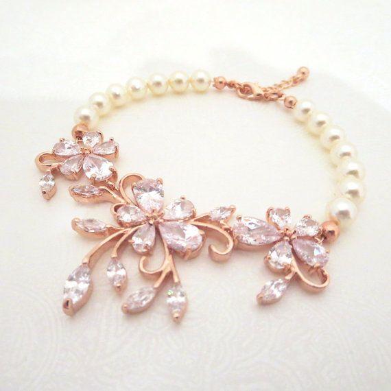 Rose Gold Bridal bracelet Wedding bracelet Crystal by treasures570