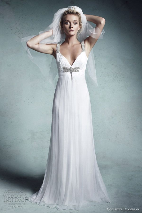 collette dinnigan wedding dresses 2013 bridal gisele beaded straps and dragonfly empire line silk crinkle gown