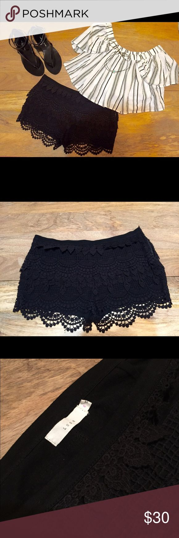 Size S Lush crochet shorts in black Lush Black Crochet Shorts with side zip and cotton lining Lush Shorts