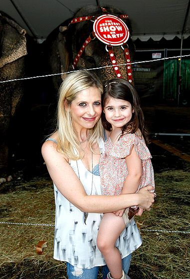"The Amazing Charlotte! Sarah Michelle Gellar and daughter Charlotte took in Ringling Bros. and Barnum & Bailey Circus presents ""Built to Amaze!"" at L.A.'s Staples Center July 14."