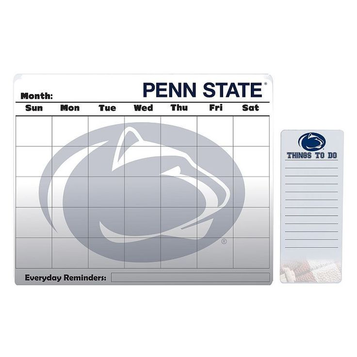 Penn State Nittany Lions Dry Erase Calendar & To-Do List Pad Set, Multicolor